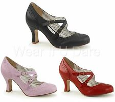 PLEASER PIN UP COUTURE FLAPPER-35 FAUX LEATHER MARYJANE KITTEN HEEL SHOES UK 3-9