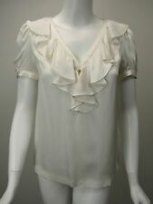 KATE SPADE White Silk Faille Ruffled V-Neck Short Sleeve Blouse sz 2