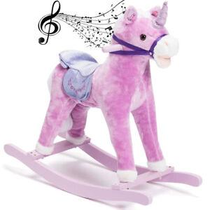 Cavallo a Dondolo Unicorno Rosa Legno e Peluche con Effetti Sonori Realistici