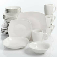 White 30-Piece Ceramic Porcelain Dinnerware Set Microwave/Dishwasher Safe Dinner