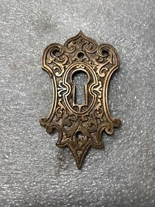 Brass Eastlake Keyhole Cover Custom Fired Peacock Blue And Black  Enamel