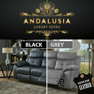 GENUINE LEATHER SOFA RECLINER SUITE ANDALUSIA | BLACK GREY 3 + 2 + 1 SEATER SET