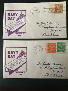 Navy Day cover ~ NAVAL AIR STATION QUONSET POINT 1948 FDC LOT OF 2