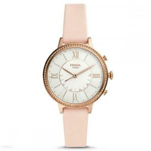 Womens Hybrid Smartwatch FOSSIL JACQUELINE FTW5059 Leather Pink White