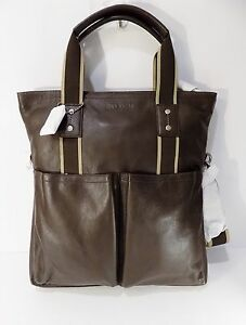 NWT Coach 70558 Heritage Web Foldover Leather Tote ~ Brown