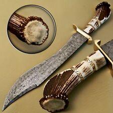 Hermosos personalizado hecho a mano cuchillo machete caza De Acero Damasco Con Stag final