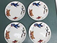 Studio Nova humorous FOOD CHAIN plate  cat- dog- bird-worm chase 4 Plates