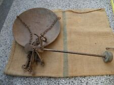 VINTAGE ANTIQUE STEELYARD BALANCE SCALE HAND FORGED WROUGHT IRON