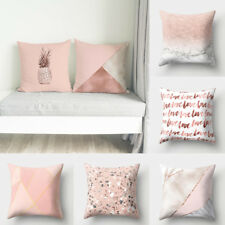Rose Gold Pillow Cases Pink Grey Geometric Marble Cushion Covers Sofa Home Decor