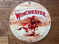 """Vintage Winchester Western Heavy Porcelain Sign 12"""" Guns & Ammunition Sign"""