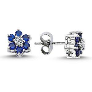 Diamant Saphir Gänseblümchen Ohrringe 14 Karat 585 er Weißgold S20005