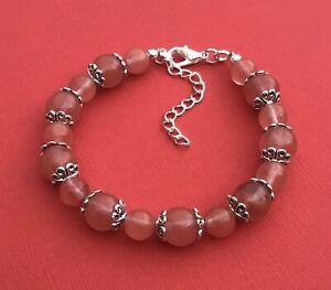 Cherry Quartz Gemstone Handmade Unique Women's Beaded Bracelet New Aussie Seller