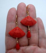 Exquisite Carved Red Cinnabar W. Red Coral Gold Earrings A1009