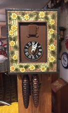 Vintage Rare  Daisy Flowers Cuckoo Clock