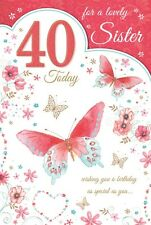 40th SISTER BIRTHDAY CARD AGE 40 QUALITY CARD WITH BEAUTIFUL VERSE CHAMPAGNE