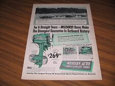 1951 Print Ad Wizard Outboard Motors Boat Racing Speed Test Western Auto Stores