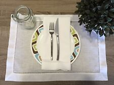 Set of 12 White Linen Cloth Hemstitch Table Placemats 14x20 Inch Wedding