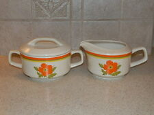 LENOX CHINA FIRE FLOWER CREAM AND COVERED SUGAR SET