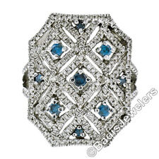 .925 Sterling Silver 1.58ctw Round White & Blue Diamond Large Open Cocktail Ring