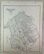 Antique General Land Office Map Victoria County Texas Showing Plats ++