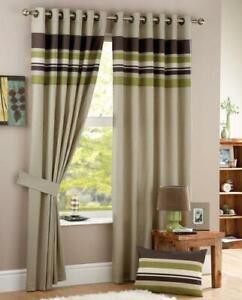 "Curtains 168x137cm (66x54"") Harvard Ready Made Green Eyelet Top NEW (E)"