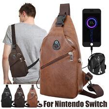 Men Shoulder Bag Sling Chest Pack USB Charging Outdoor Sports Crossbody Handbag