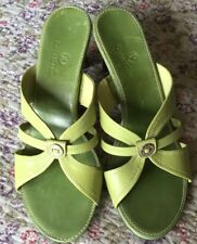 NEW COLE HAAN LIME GREEN SLIP ON OPEN TOE SANDALS SIZE 9