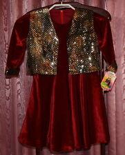 Arabien ☺ SET = rotes Pannesamt Kleid mit glitzernder Weste ☺ Gr. 104/110 *NEU*