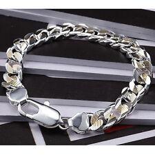 Sideways Lobster Clasp Bracelet 10Mm H113 Hot Sale 925Sterling Silver Gold Color
