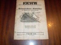 Betriebsanleitung Fahr Schnecken-Abteiler