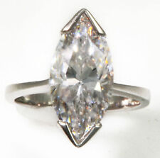 4 ct Marquise Ring Vintage Top Russian CZ Moissanite Simulant SS Size 4