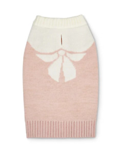 Bow Knit Dog Sweater - LARGE - Pink/Gold & Tan - Warm - Bond & Co - NWT