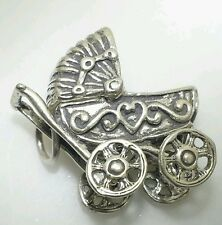 BABY CARRIAGE STROLLER 3D MOVABLE TOP .925 Solid Sterling Silver Charm