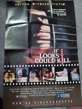 IF LOOKS COULD KILL (VIDEO DEALER  40 X 27 POSTER!, 1980S) KIM LAMBERT, TIM GAIL