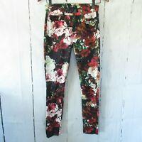 7 For All Mankind Skinny Jeans Black Floral Rose Ankle Crop