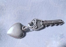 Estate vtg 50s-60s ster CHARMS: Sweet symbolic HEART and KEY Unlock her heart!