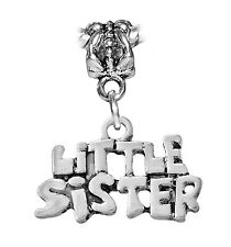 Little Sister Sibling Word Gift Dangle Charm for European Bead Slide Bracelets