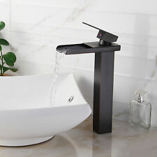 Bathroom  Waterfall Spout Laundry Black Oil Rubbed Bronze Tap Sink Mixer Faucet