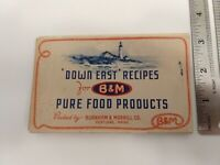 Vintage! MCM Down East Recipes for B&M Pure Food Products Burnham Morrill 1949