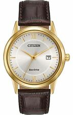 Mens Citizen Eco-Drive Brown Leather With Date Casual Dress Watch AW1232-04A