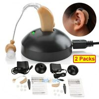 A Pair Rechargeable Digital Hearing Aid Severe Loss BTE Ear Aids Sound Amplifier