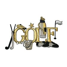 ID 5037 Gold Golf Theme Large Patch Bag Sport Hobby Embroidered Iron On Applique