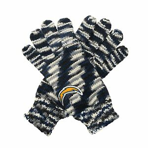 """TWO PAIRS of Los Angeles Chargers """"Gloves Off' Space Dye Striped Logo Gloves"""