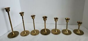 Lot of 7 Vintage Solid Brass Thin Graduated Candlestick Candle Holders Taiwan