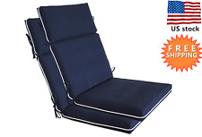 Bossima Outdoor Cushions Patio High Back Chair Seat Pad Set 2 pieces Navy Blue