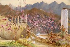 OLD WATERCOLOR MYSTERY PAINTING LANDSCAPE ALMOND BLOSSOMS ITALY BENJAMIN BROWN??
