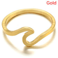 Surf Wave Ring Knuckle Finger Ring Simple Beach Sea Island Women Jewelry 3c Rose Gold 7