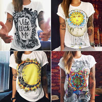 Women's Boho Short Sleeve T-Shirt Hippie Tee Tops Loose  Ladies Casual Shirts