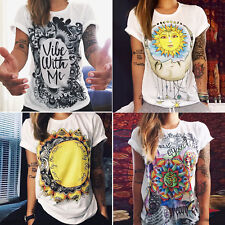 Women's Boho Short Sleeve T-Shirt Hippie Tee Tops Loose  Ladies Casual Shirts AU