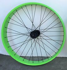 "Beach Cruiser 26"" Front Fat Wheels Rims with 36 spokes for disc brake Neon Green"